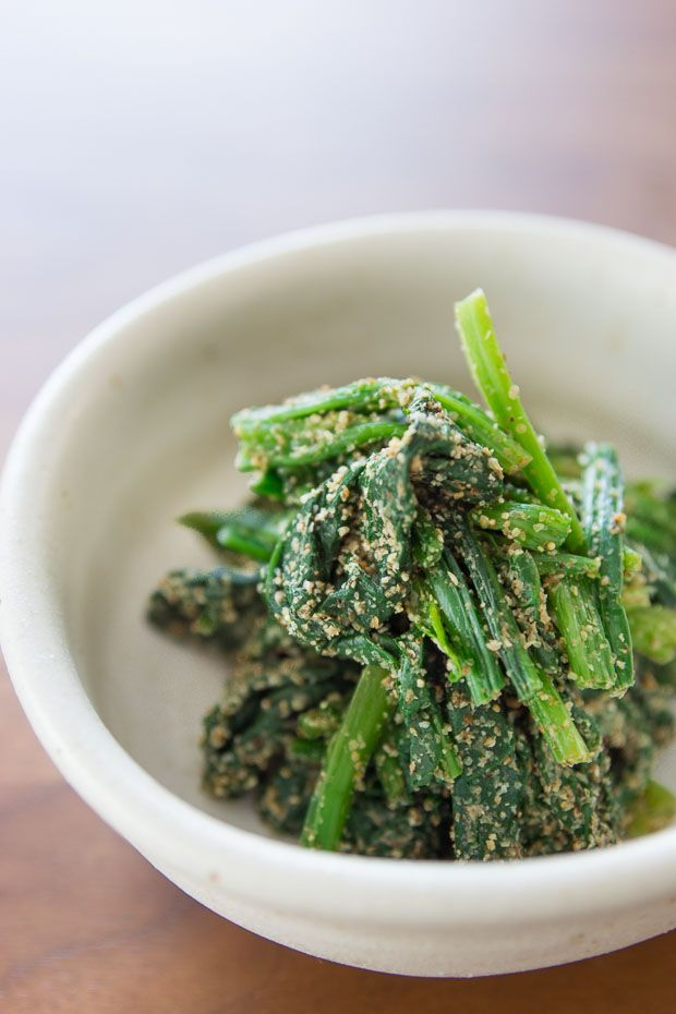 Japanese spinach with sesame seeds.