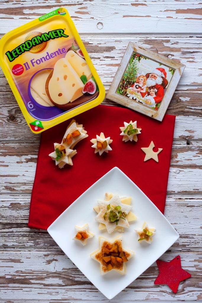 Veg-Sandwich finger food con pan-tramezzino stellato, dadolata di zucca, porri croccanti e Leerdammer Il Fondente